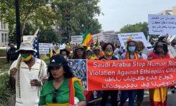 إثيوبيون يتظاهرون أمام السفارة السعودية في واشنطن للمطالبة بإنقاذ عائلاتهم